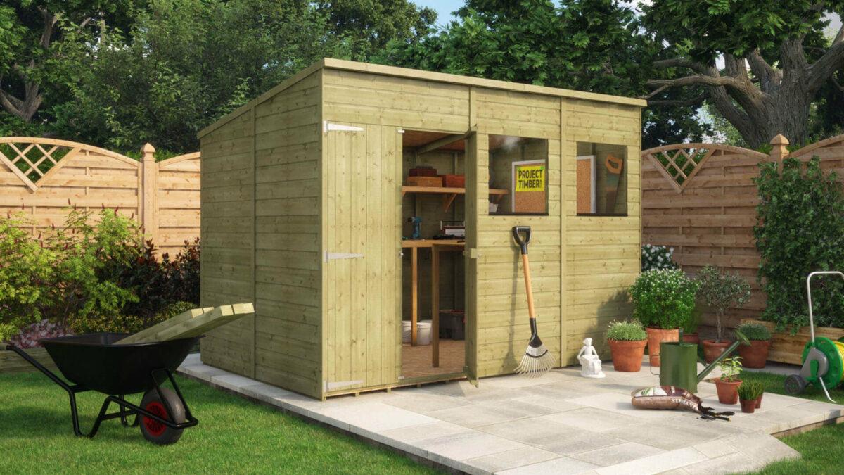 10x6 Pressure Treated Hobbyist Pent Offset Door Garden Shed